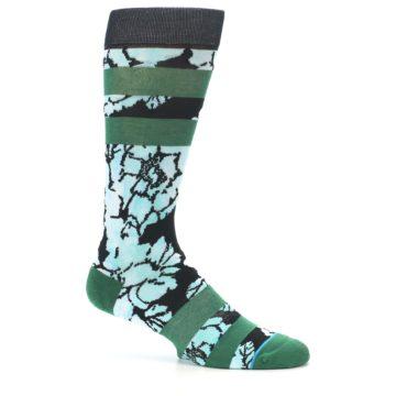 Image of Black Green Floral Men's Casual Socks (side-1-25)