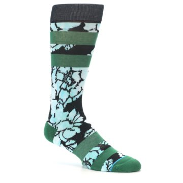 Image of Black Green Floral Men's Casual Socks (side-1-26)