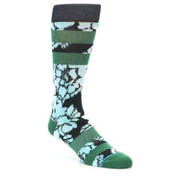 Image of Black Green Floral Men's Casual Socks (side-1-27)