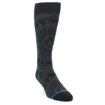 Image of Grey Black Patterned Men's Casual Socks (side-1-front-02)