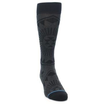 Image of Grey Black Patterned Men's Casual Socks (side-1-front-03)