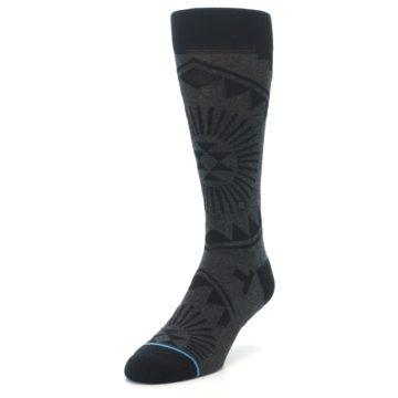Image of Grey Black Patterned Men's Casual Socks (side-2-front-07)