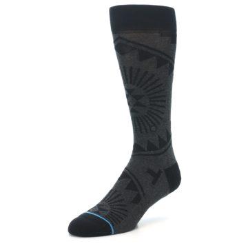 Image of Grey Black Patterned Men's Casual Socks (side-2-front-08)