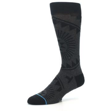 Image of Grey Black Patterned Men's Casual Socks (side-2-09)