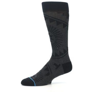 Image of Grey Black Patterned Men's Casual Socks (side-2-10)