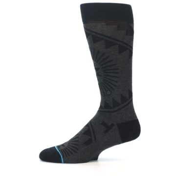 Image of Grey Black Patterned Men's Casual Socks (side-2-11)