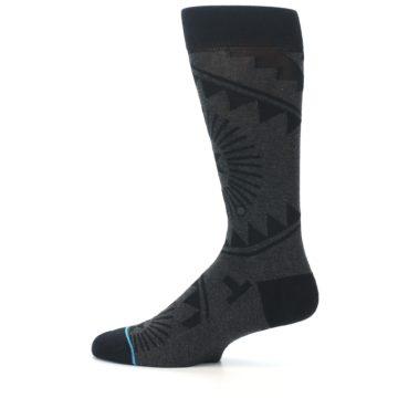 Image of Grey Black Patterned Men's Casual Socks (side-2-12)