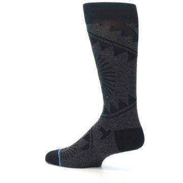 Image of Grey Black Patterned Men's Casual Socks (side-2-13)