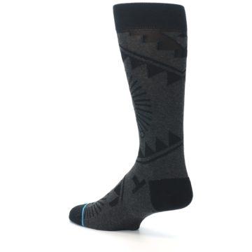 Image of Grey Black Patterned Men's Casual Socks (side-2-back-14)