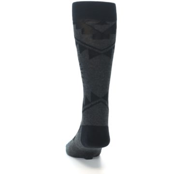 Image of Grey Black Patterned Men's Casual Socks (back-17)