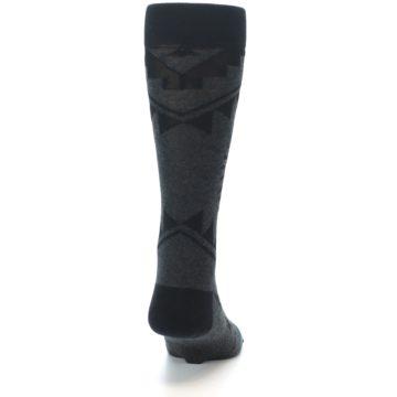 Image of Grey Black Patterned Men's Casual Socks (back-19)