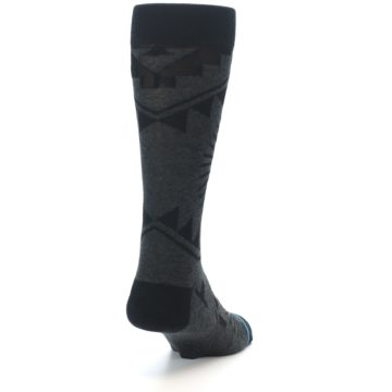 Image of Grey Black Patterned Men's Casual Socks (side-1-back-20)