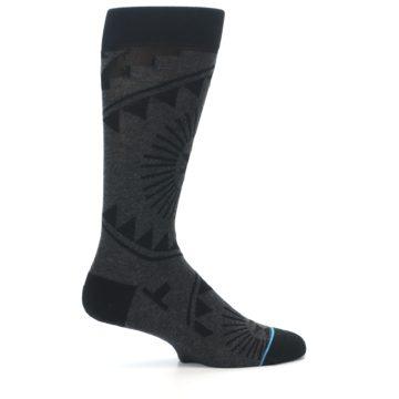 Image of Grey Black Patterned Men's Casual Socks (side-1-24)