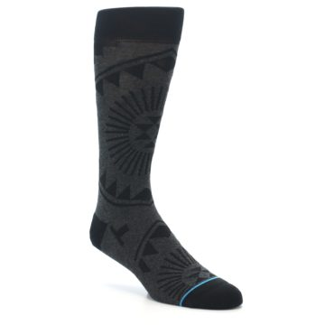 Image of Grey Black Patterned Men's Casual Socks (side-1-27)