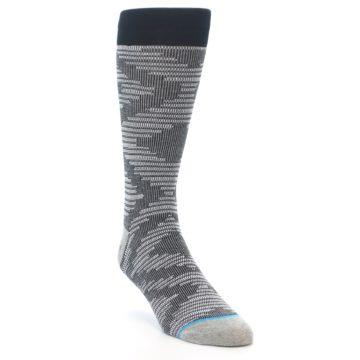 Image of Black White Diamonds Men's Casual Socks (side-1-front-02)