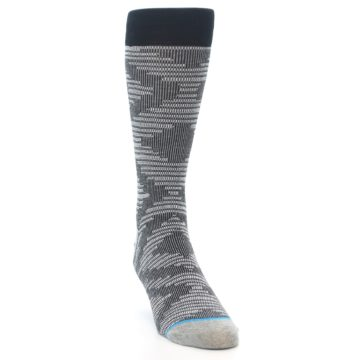 Image of Black White Diamonds Men's Casual Socks (side-1-front-03)