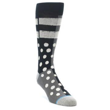Image of Black White Grey Polka Dot Men's Casual Socks (side-1-front-02)