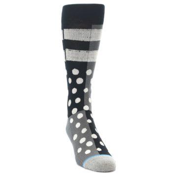 Image of Black White Grey Polka Dot Men's Casual Socks (side-1-front-03)
