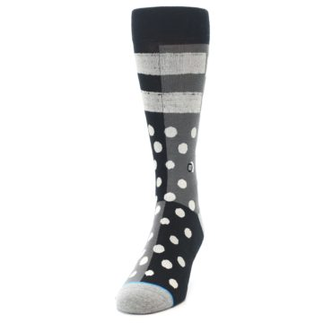 Image of Black White Grey Polka Dot Men's Casual Socks (side-2-front-06)