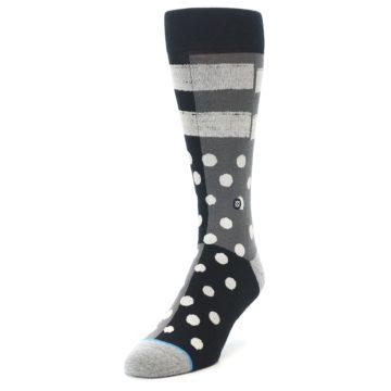 Image of Black White Grey Polka Dot Men's Casual Socks (side-2-front-07)