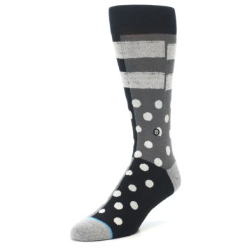Image of Black White Grey Polka Dot Men's Casual Socks (side-2-front-08)
