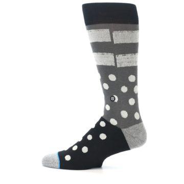 Image of Black White Grey Polka Dot Men's Casual Socks (side-2-12)