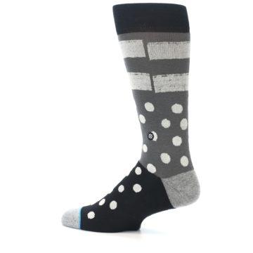 Image of Black White Grey Polka Dot Men's Casual Socks (side-2-13)