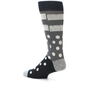Image of Black White Grey Polka Dot Men's Casual Socks (side-2-back-14)