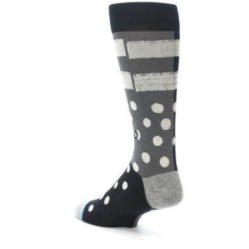 Image of Black White Grey Polka Dot Men's Casual Socks (side-2-back-15)