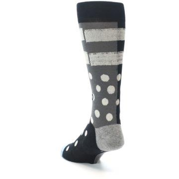 Image of Black White Grey Polka Dot Men's Casual Socks (side-2-back-16)