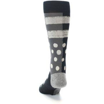 Image of Black White Grey Polka Dot Men's Casual Socks (back-17)