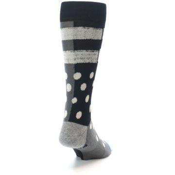 Image of Black White Grey Polka Dot Men's Casual Socks (side-1-back-20)