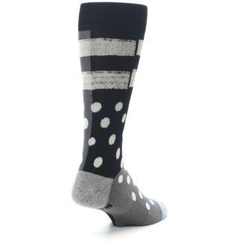 Image of Black White Grey Polka Dot Men's Casual Socks (side-1-back-21)