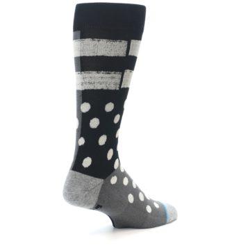Image of Black White Grey Polka Dot Men's Casual Socks (side-1-back-22)