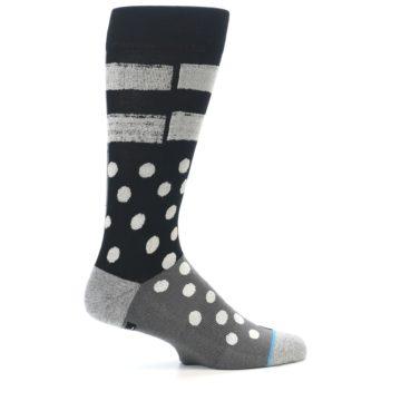 Image of Black White Grey Polka Dot Men's Casual Socks (side-1-24)