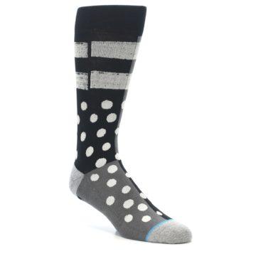 Image of Black White Grey Polka Dot Men's Casual Socks (side-1-27)