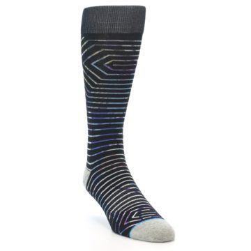 Image of Black Multi-Color Stripe Men's Casual Socks (side-1-front-02)