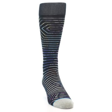 Image of Black Multi-Color Stripe Men's Casual Socks (side-1-front-03)