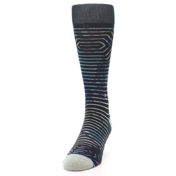Image of Black Multi-Color Stripe Men's Casual Socks (side-2-front-06)