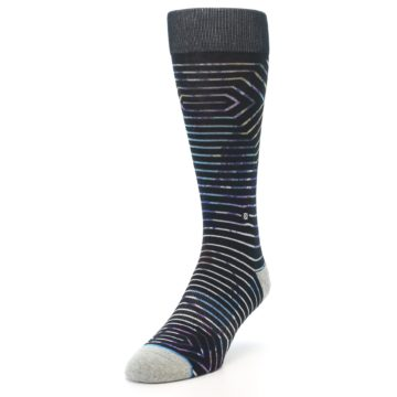 Image of Black Multi-Color Stripe Men's Casual Socks (side-2-front-07)
