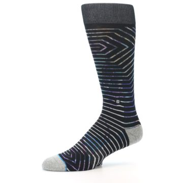 Image of Black Multi-Color Stripe Men's Casual Socks (side-2-10)