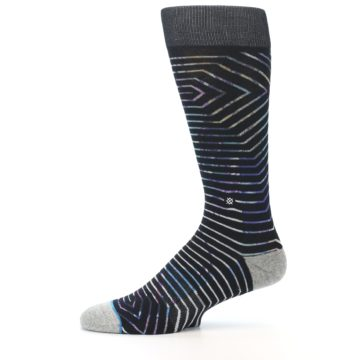 Image of Black Multi-Color Stripe Men's Casual Socks (side-2-11)