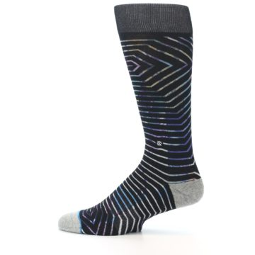 Image of Black Multi-Color Stripe Men's Casual Socks (side-2-12)
