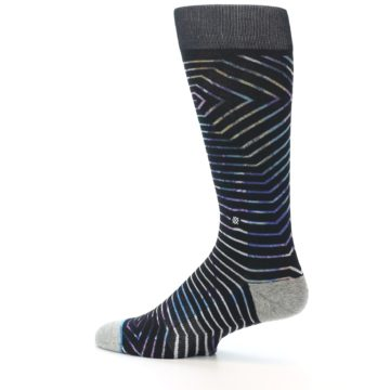 Image of Black Multi-Color Stripe Men's Casual Socks (side-2-13)