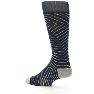 Image of Black Multi-Color Stripe Men's Casual Socks (side-2-back-14)