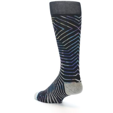 Image of Black Multi-Color Stripe Men's Casual Socks (side-2-back-15)