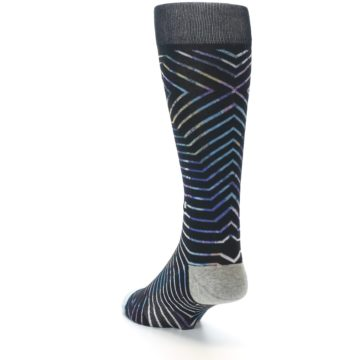 Image of Black Multi-Color Stripe Men's Casual Socks (side-2-back-16)