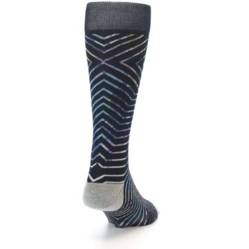 Image of Black Multi-Color Stripe Men's Casual Socks (side-1-back-20)