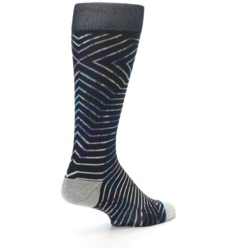 Image of Black Multi-Color Stripe Men's Casual Socks (side-1-back-22)