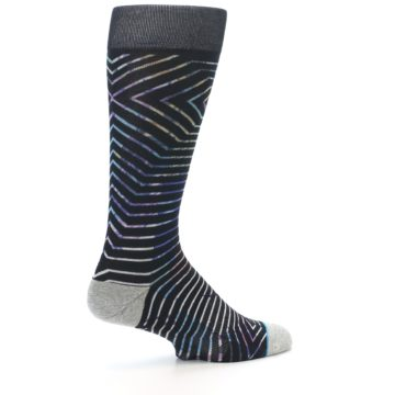 Image of Black Multi-Color Stripe Men's Casual Socks (side-1-23)